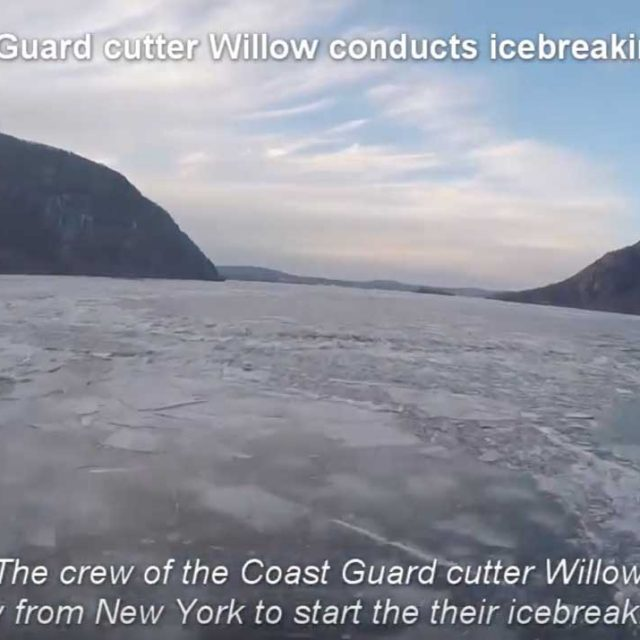 Coast Guard icebreaking mission on Hudson River